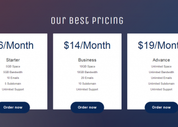 Bootstrap responsive pricing plans table widget template