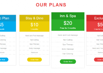 Spa therapy css pricing table flat bootstrap responsive design free download