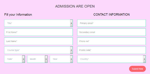 Student admission form template flat responsive widget