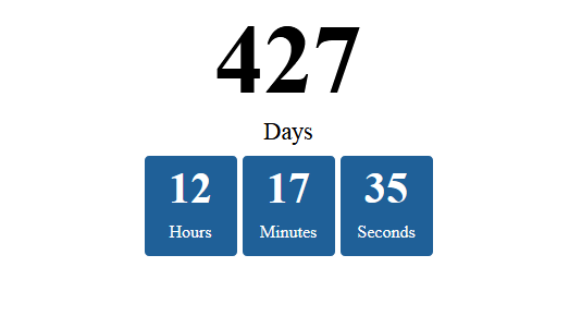 JavaScript timer countdown days hours minutes seconds