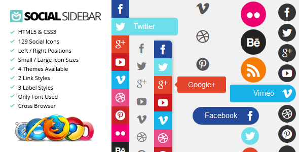 Social sharing button sidebar widget