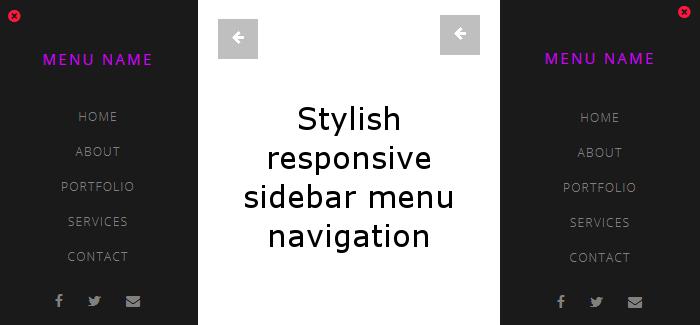 Stylish responsive sidebar menu navigation