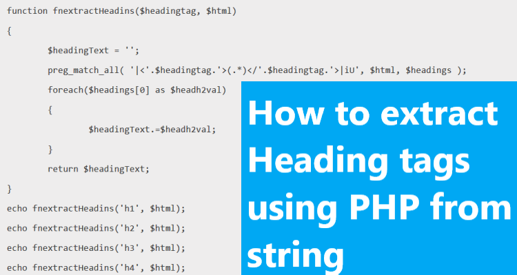How to extract Heading tags using PHP from string