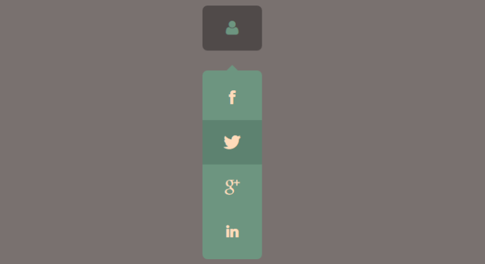 Drop down social icons on mouse hover effects