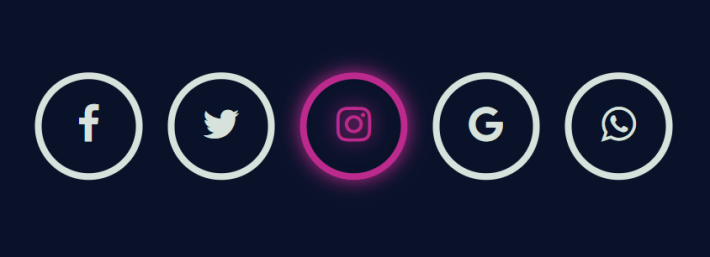 Glowing social icon hover effect