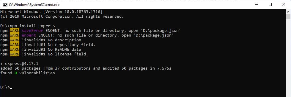 Installing ExpressJs In Window Step1