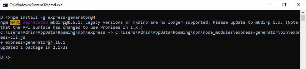 Installing ExpressJs In Window Step 2